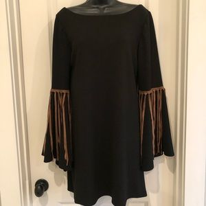 Judith March Black and Leather Fringe Dress Medium